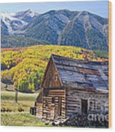Rustic Rural Colorado Cabin Autumn Landscape Wood Print