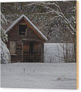 Rustic Shack After The Storm Wood Print