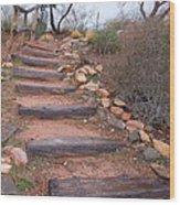 Rustic Stairway Wood Print