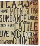 Rustic Texas Art Wood Print