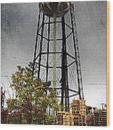 Rustic Water Tower Wood Print