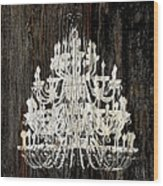 Rustic Shabby Chic White Chandelier On Wood Wood Print