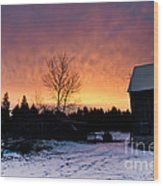 Rustic Winter Sunrise Wood Print