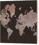 Rustic World Map Wood Print