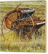 Rusting Farm Equipment Wood Print
