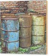 Rusting Oil Barrels Wood Print