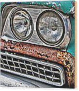 Rusty 1959 Ford Station Wagon - Front Detail Wood Print
