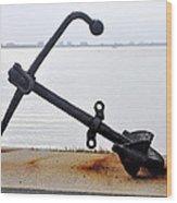 Rusty Black Boat Anchor By Sarasota Harbor Usa Wood Print