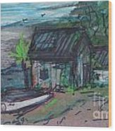 Rusty Boathouse Wood Print
