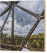 Rusty Bridge In Fall Wood Print