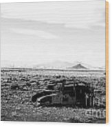 Rusty Car 3 - Black And White Wood Print