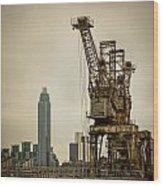 Rusty Cranes At Battersea Power Station Wood Print
