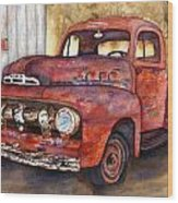 Rusty Crusty Ford Truck Wood Print