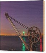 Rusty Davit And Two Lighthouses Wood Print by Semmick Photo