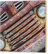 Rusty Ford Grill Wood Print