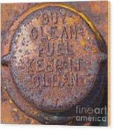 Rusty Gas Tank Cap Wood Print