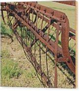 Rusty Hay Rake Wood Print