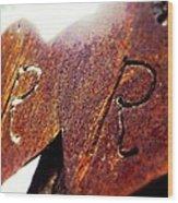 Rusty Hearts  Wood Print