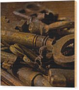 Rusty Keys Wood Print