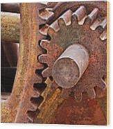 Rusty Metal Gears Wood Print