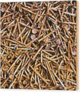 Rusty Nails Abstract Art Wood Print