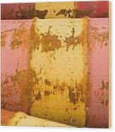 Rusty Oil Barrels Yellow Red Background Pattern Wood Print
