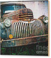 Rusty Old Chevy Pickup Wood Print