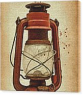 Rusty Old Lantern On Aged Textured Background E59 Wood Print