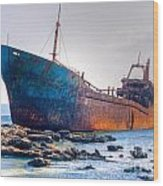Rusty Old Shipwreck Aground  On Rocky Reef Wood Print