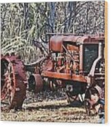Rusty Old Tractor Wood Print