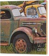 Rusty Old Trucks Wood Print