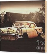Rusty Oldsmobile Wood Print