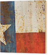 Rusty Texas Flag Rust And Metal Series Wood Print