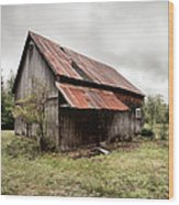 Rusty Tin Roof Barn Wood Print by Gary Heller