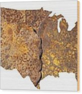 Rusty Usa Map Wood Print