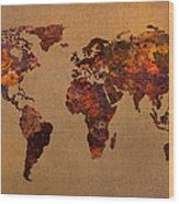 Rusty Vintage World Map On Old Metal Sheet Wall Wood Print by Design Turnpike