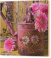 Rusty Watering Can Wood Print