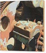 Rusty Wheel Gear Wood Print