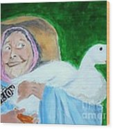 Ruthie The Duck Lady Wood Print by Katie Spicuzza