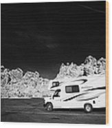 Rv Camping Van Parked At Valley Of Fire State Park Nevada Usa Wood Print