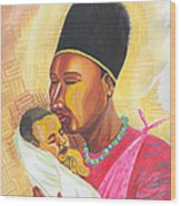 Rwandan Maternal Kiss Wood Print