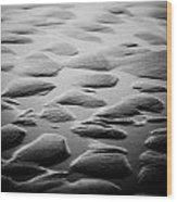 Rythm On Sand With Wave On Sea Coast At Sunset Black And White Wood Print