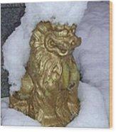 Ryukyuan Shisa Dog With Snow-hawk Wood Print