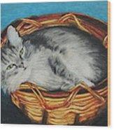 Sabrina In Her Basket Wood Print