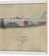 Saburo Sakai A6m Zero - Map Background Wood Print by Craig Tinder