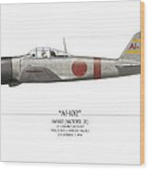 Saburo Shindo A6m Zero - White Background Wood Print by Craig Tinder