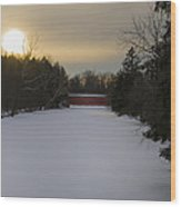 Sachs Covered Bridge At Sunrise In Winter Wood Print