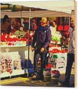 Sacks Of Potatoes Red Pepper Pots Tomato Baskets Marche Jean Talon Montreal Scenes Carole Spandau Wood Print