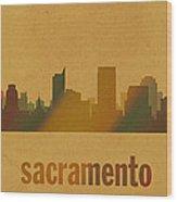 Sacramento California City Skyline Watercolor On Parchment Wood Print