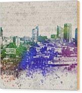 Sacramento City Skyline Wood Print by Aged Pixel